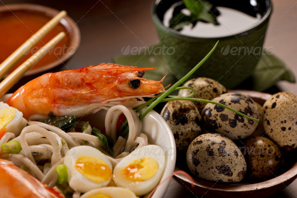 Bowl of Noodles with seafood - Stock Photo - Images