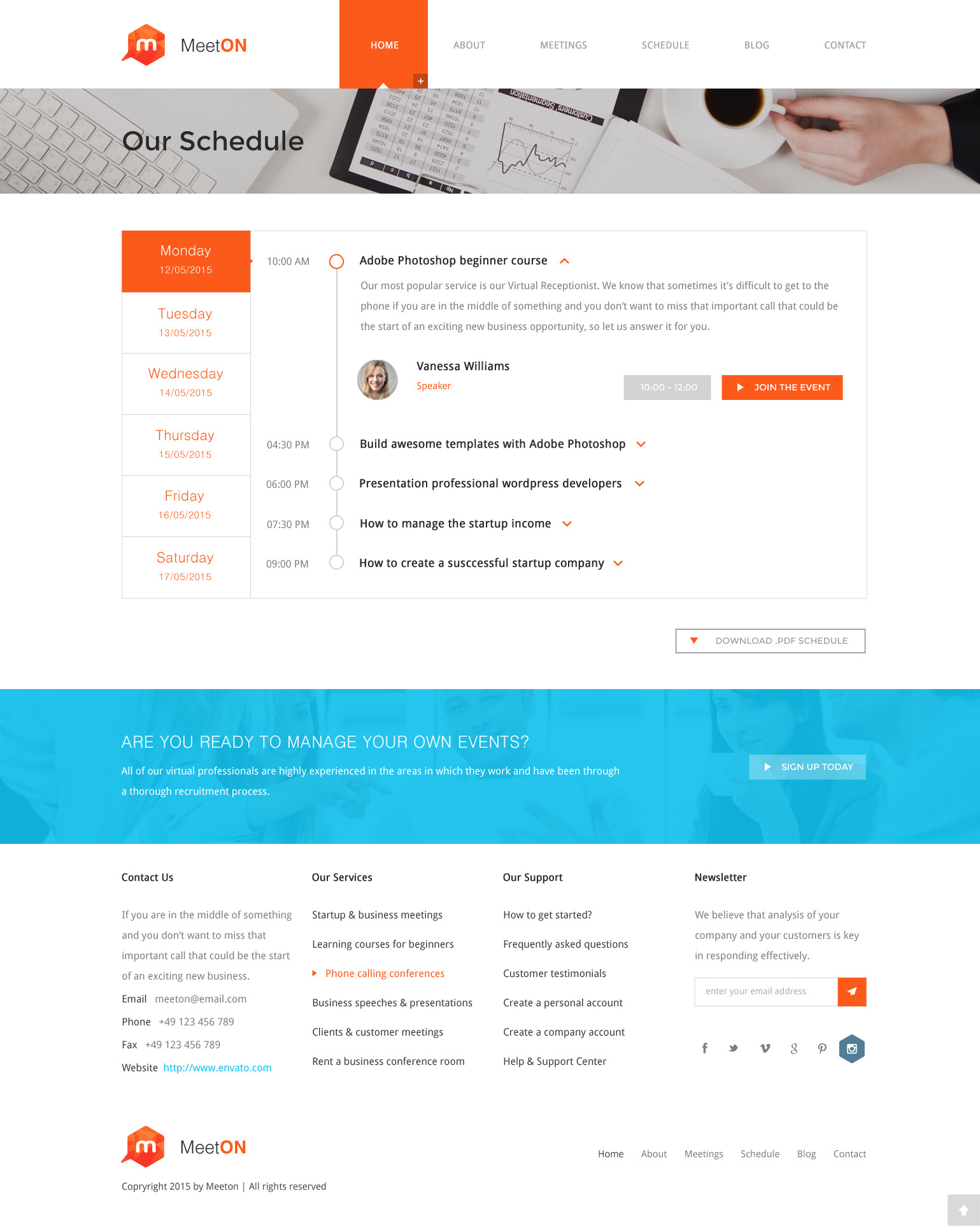 Meeton Conference Event HTML Template by templatepath – Conference Schedule Template