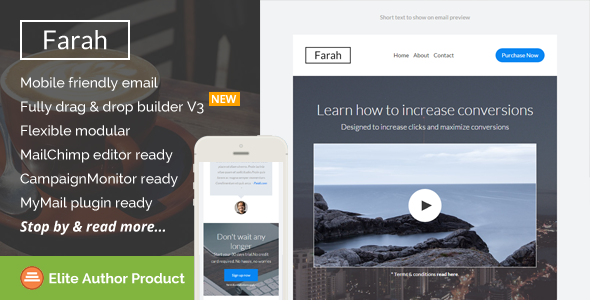 Farah, Responsive Email Template + Builder Access