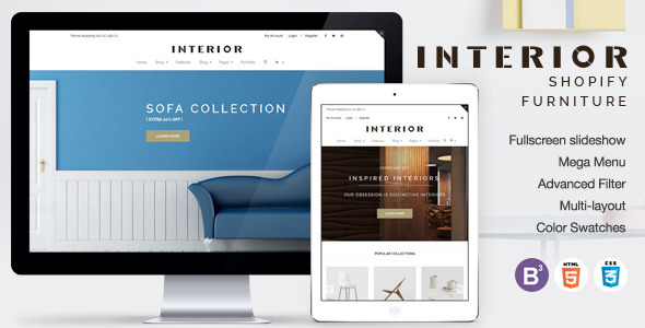 Image of Responsive Minimalist Shopify Theme for Interior
