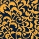 Yellow Floral Seamless Pattern On Blue