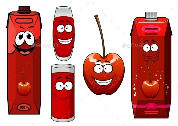 Cartoon Red Sweet Cherry Juice And Fruit