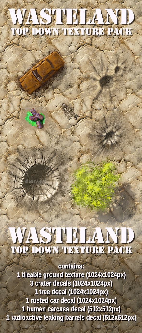 Wasteland Top Down Texture Pack - 3DOcean Item for Sale