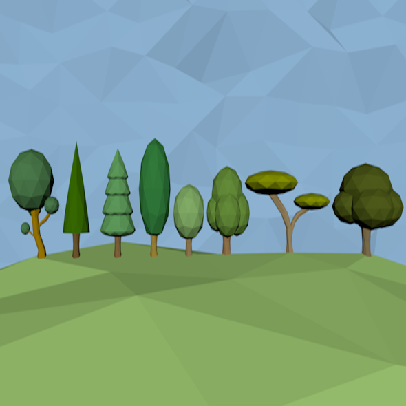low poly tree packs in 8 models - 3DOcean Item for Sale