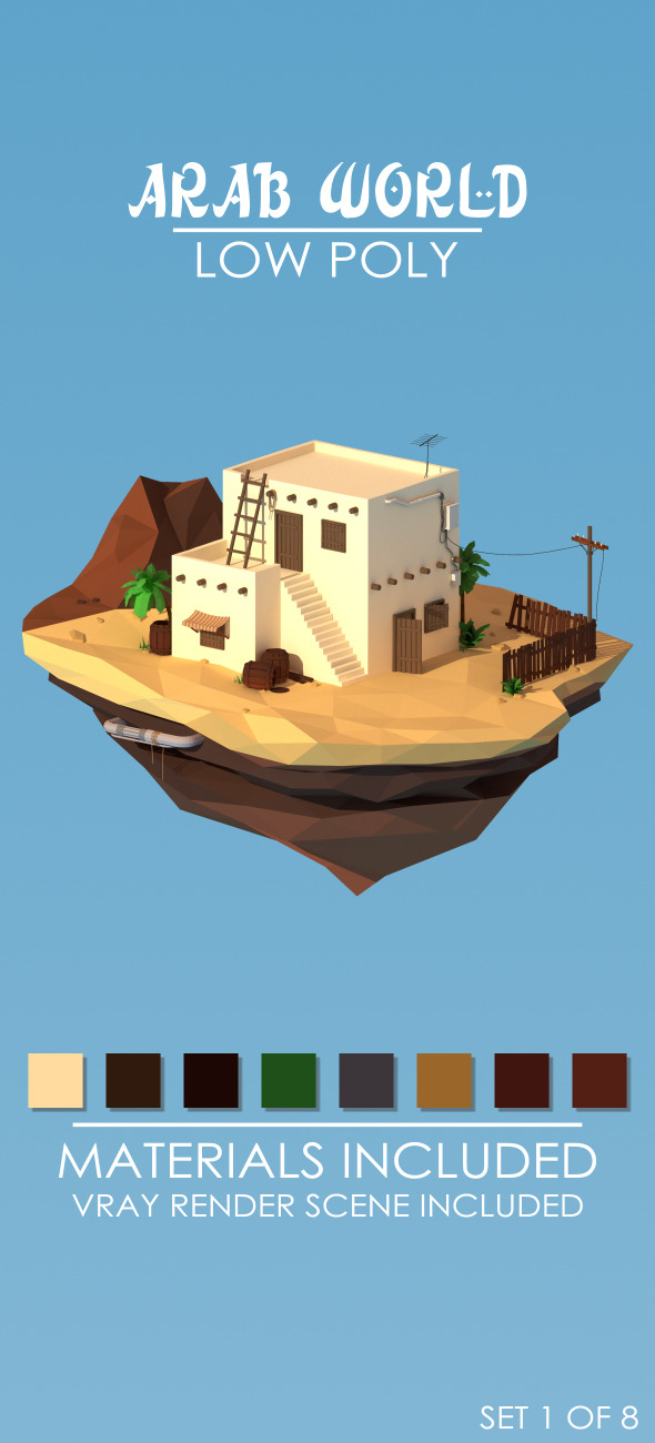 3DOcean Low Poly Arab World set 1 12576772
