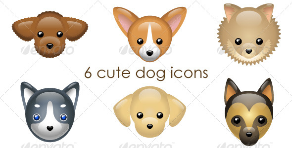 GraphicRiver 6 cute dog icons 151779