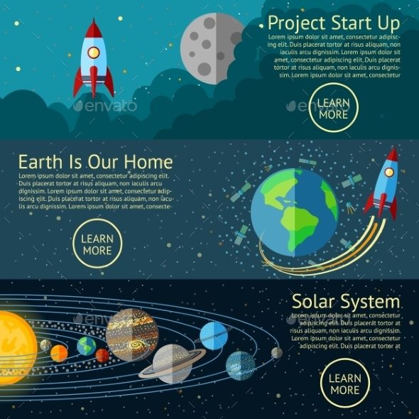 Set Of Space Banners Concepts - Rocket Start Up