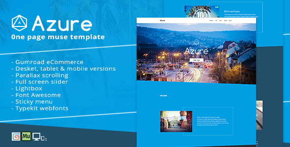 Azure - Pure Blue Muse Template for Portfolios & Creatives