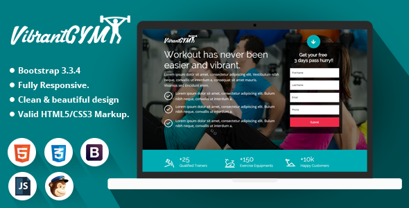 Download Vibrant GYM - HTML Landing Page Template nulled download