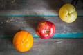 Three types of fruit arranged