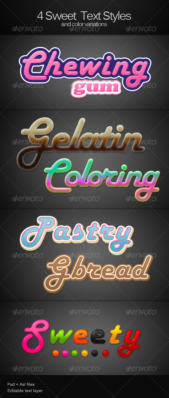 4 Sweet text Styles - Text Effects Styles
