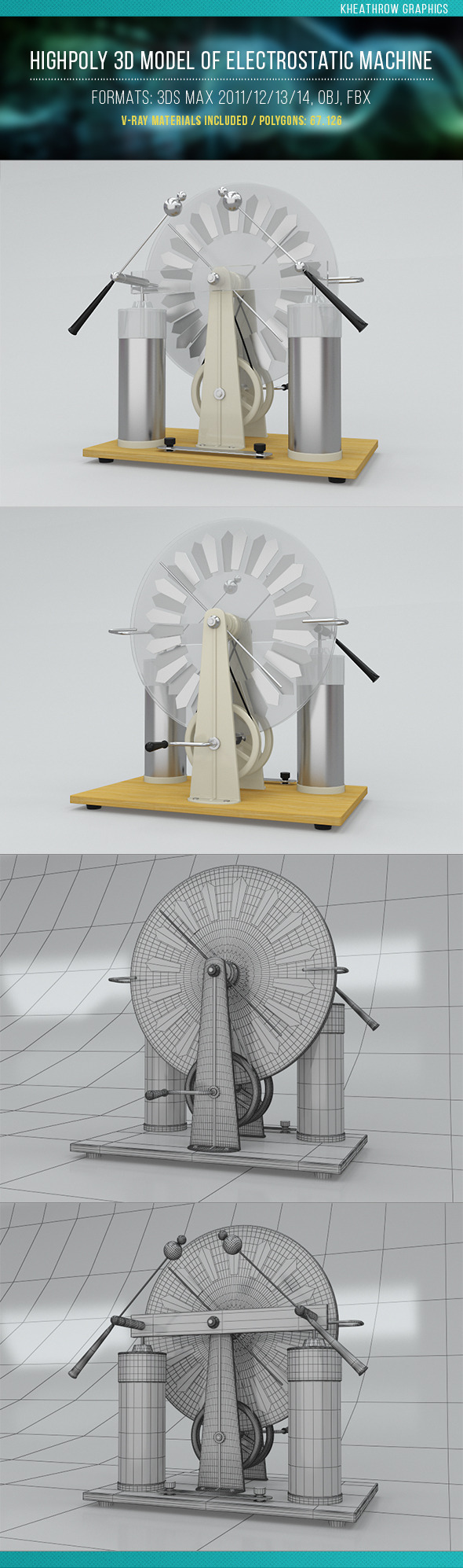 Highpoly 3d Model of Electrostatic Machine - 3DOcean Item for Sale