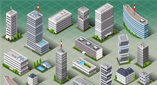 Vector Buildings Landmark City Map 3D Isometric Set