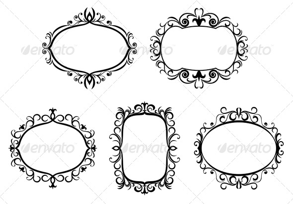 GraphicRiver Antique vintage frames and borders 152174