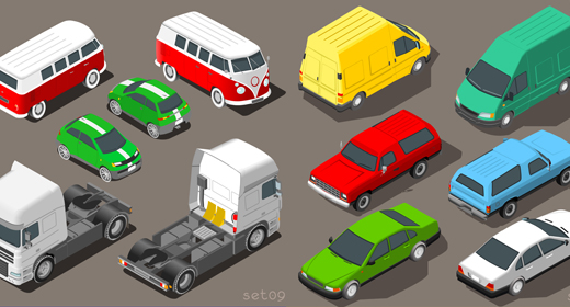 Vehicles Flat  3D Isometric Vector Collection Set