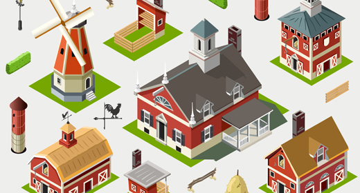 American Farm Barn Ville 3D Isometric Vector Set