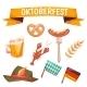 Set With Oktoberfest Celebration Symbols. Vector