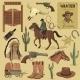 Hand Drawn Wild West Icons Set