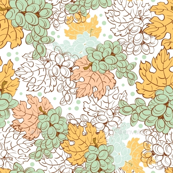 Vector Fall Grapes Harvest Seamless Pattern. Wine