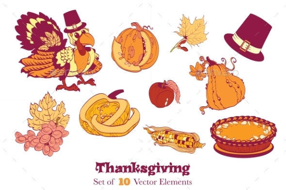 Ten Thanksgiving Design Elements. Turkey Pumpkin
