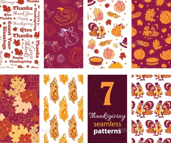 Vector Thanksgiving Turkey Pumpkins Seven Set