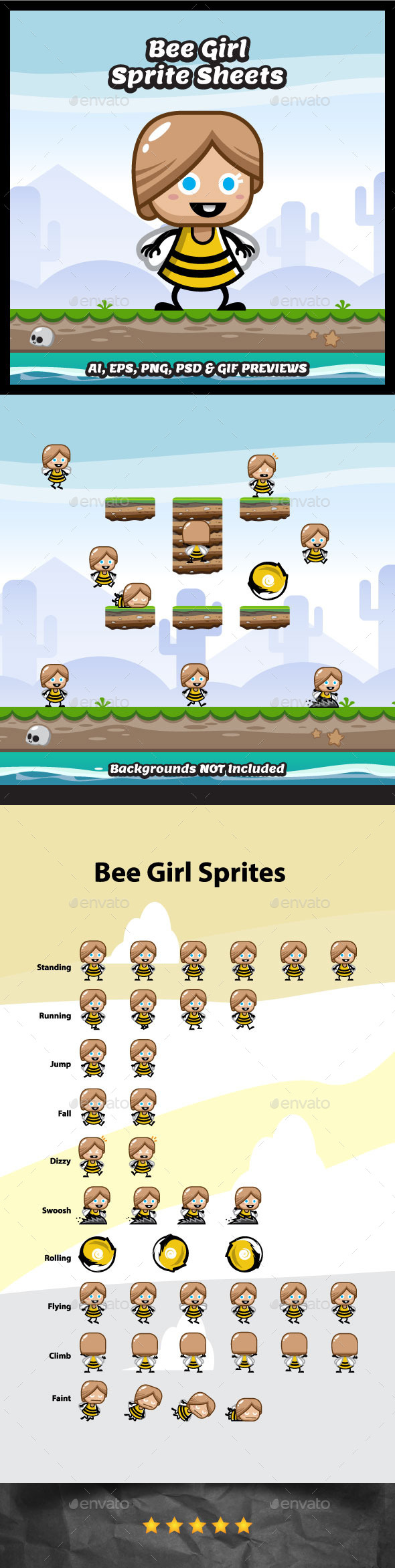 Bee Girl Game Character Spritesheets (Sprites)