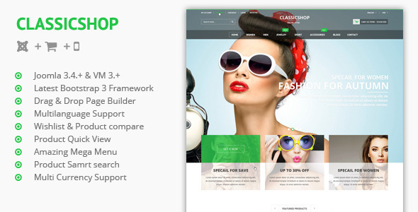 Classic Shop -  Joomla Virtuemart 3 Template