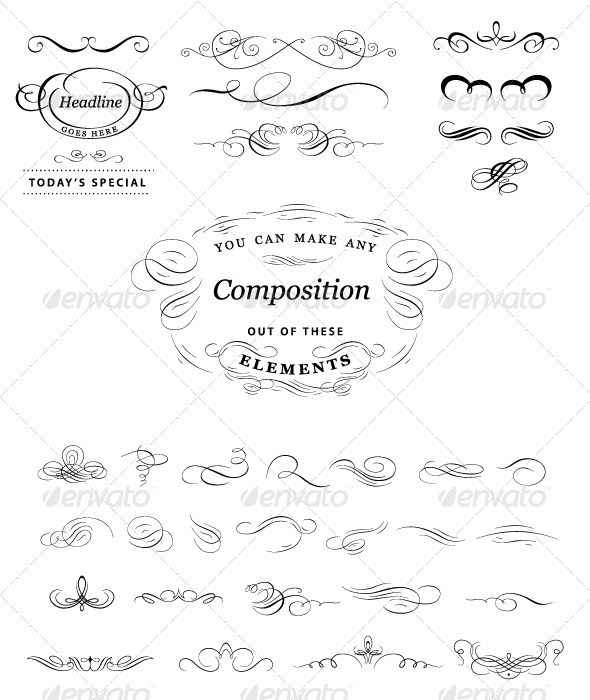 Calligraphic elements set - Flourishes / Swirls Decorative