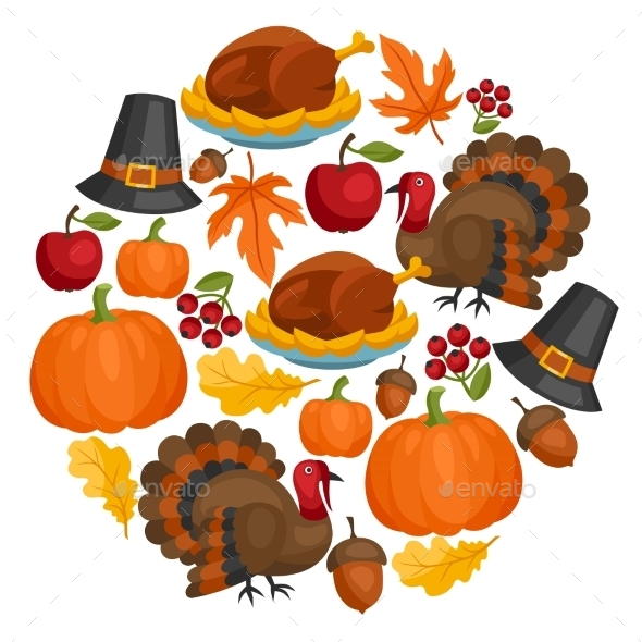 Happy Thanksgiving Day Card Design With Holiday