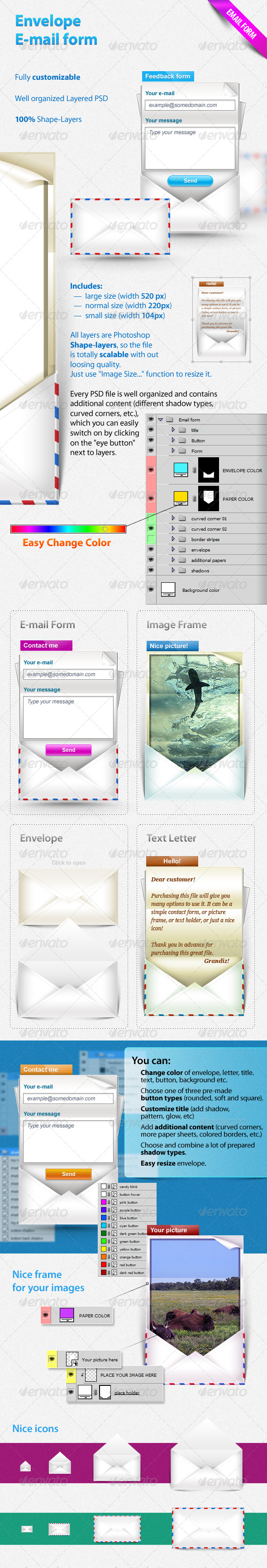 Envelope E-mail form - Buttons Web Elements