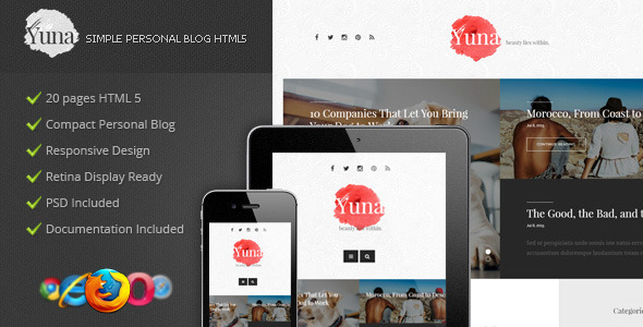 Yuna - Personal Blog HTML5 Template