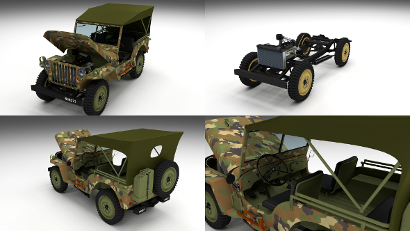 Full (w chassis) Jeep Willys MB Military Camo - 3DOcean Item for Sale