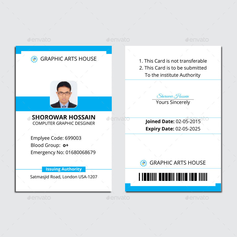 Employee Id Card by thedesignsource – Membership Id Card Template
