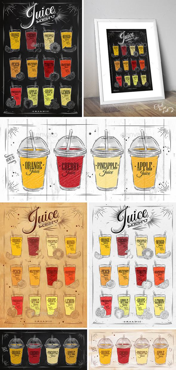 Juice Menu Posters