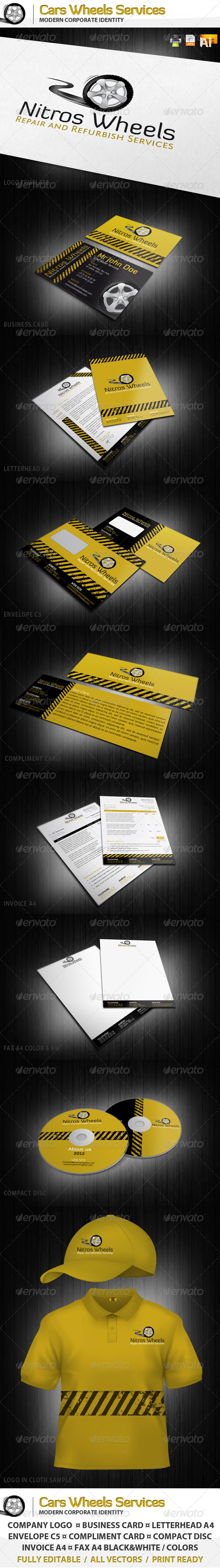 Cars Wheels Service Corporate Identity and Logo - Stationery Print Templates