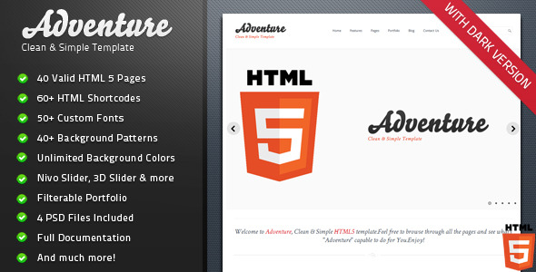 Adventure - Clean & Simple HTML 5 Template