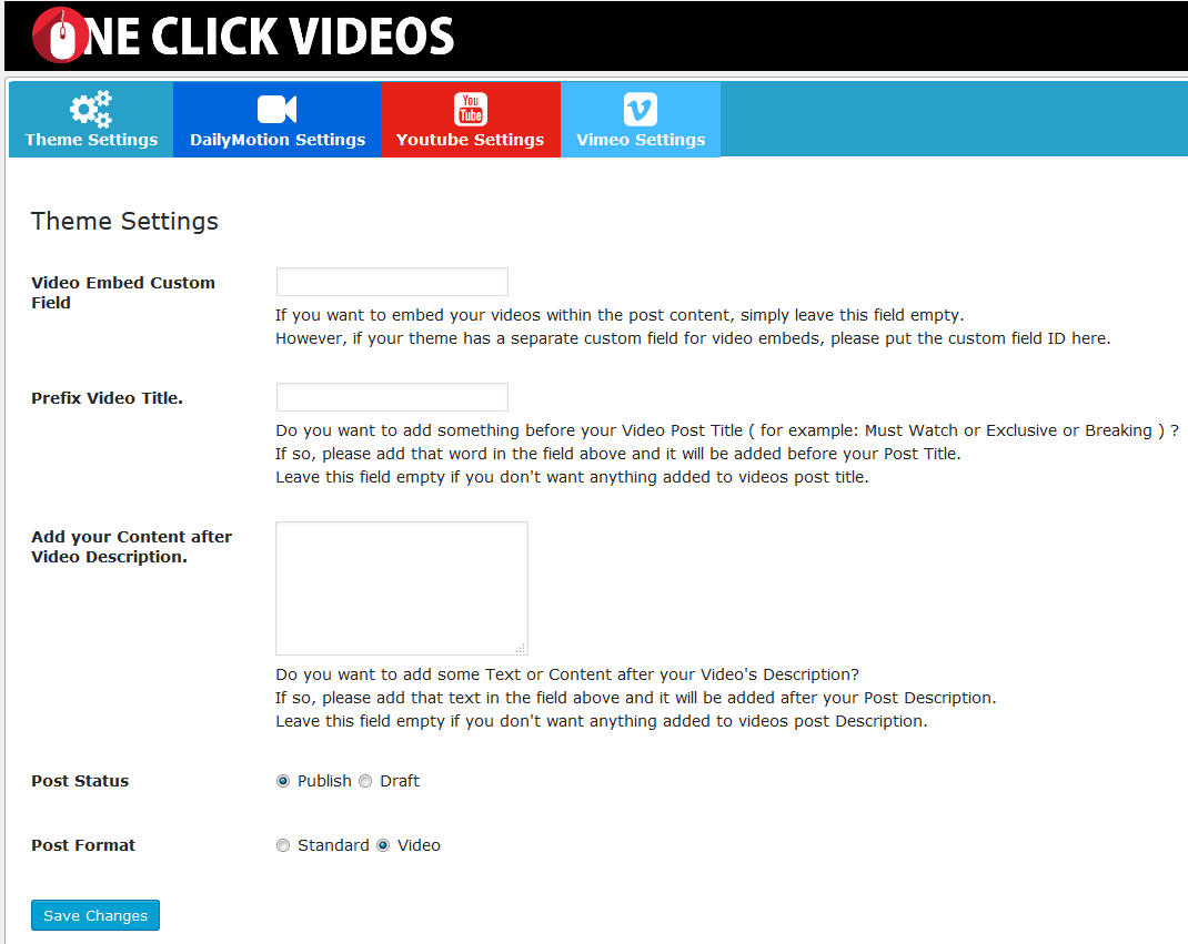 One Click Videos for Wordpress