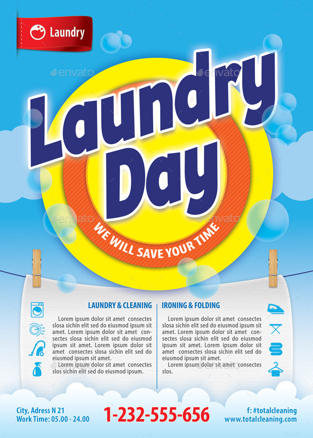 Laundry service flyer template 112 by 21min graphicriver for Ironing service flyer template
