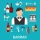 Barman And Bartender Flat Icons