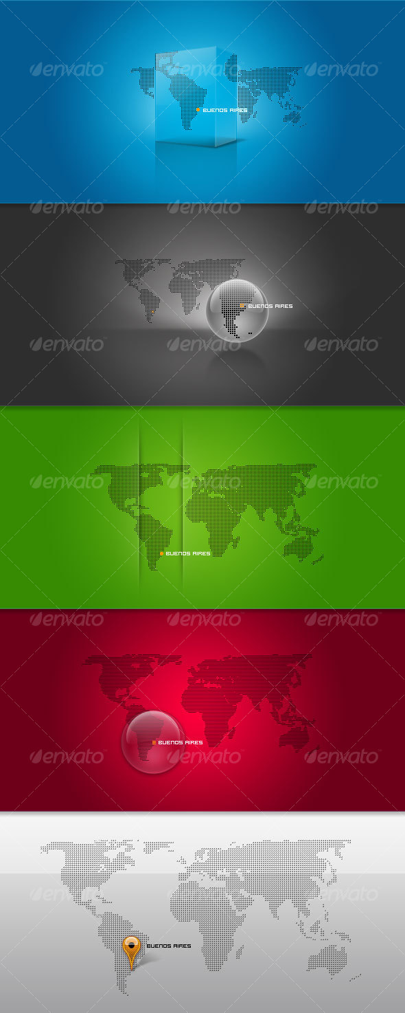 GraphicRiver 4 Pixel-Based World Maps 50690