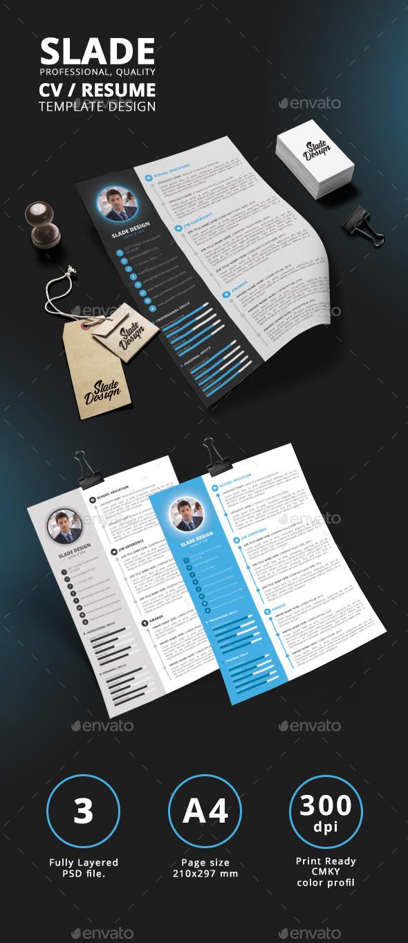 Slade Professional Quality CV / Resume Template