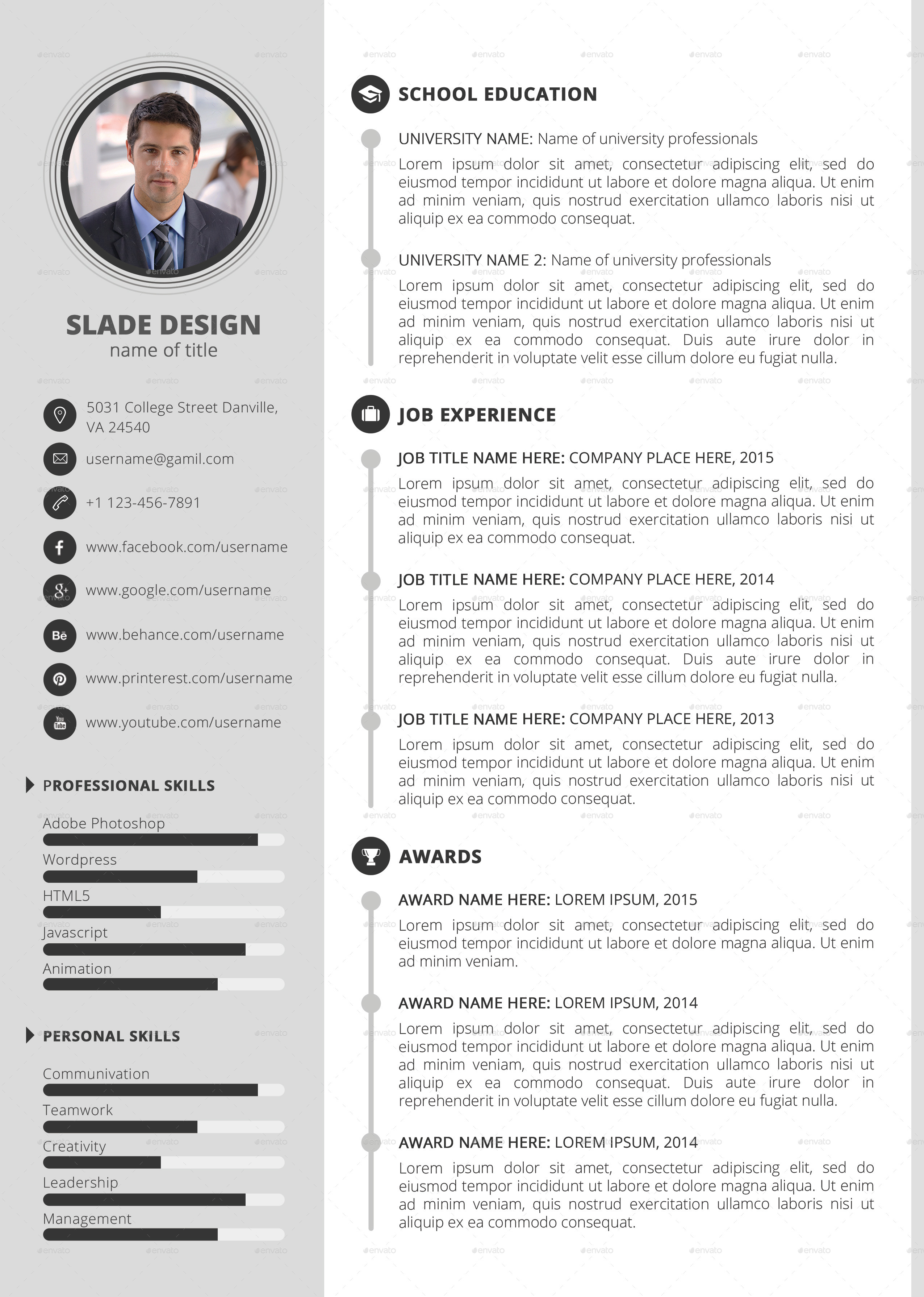 slade professional quality cv resume template by sladedesign images slade professional quality cv template version 02 jpg