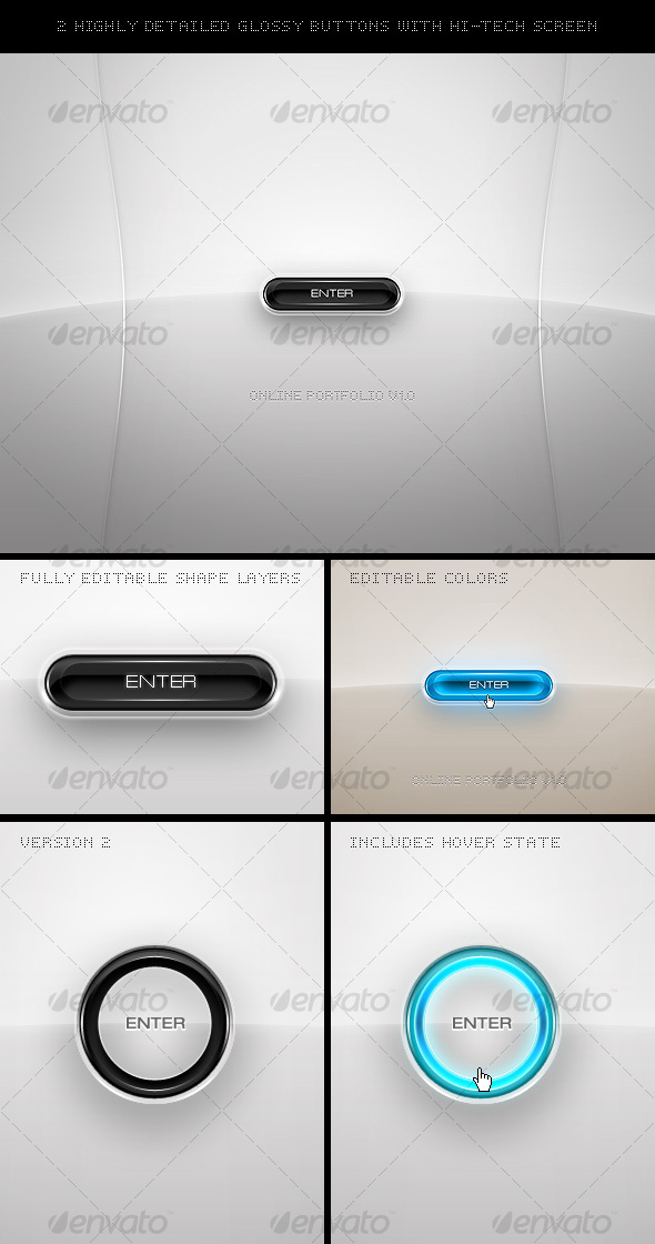 GraphicRiver 2 Highly Detailed Glossy Buttons 50698