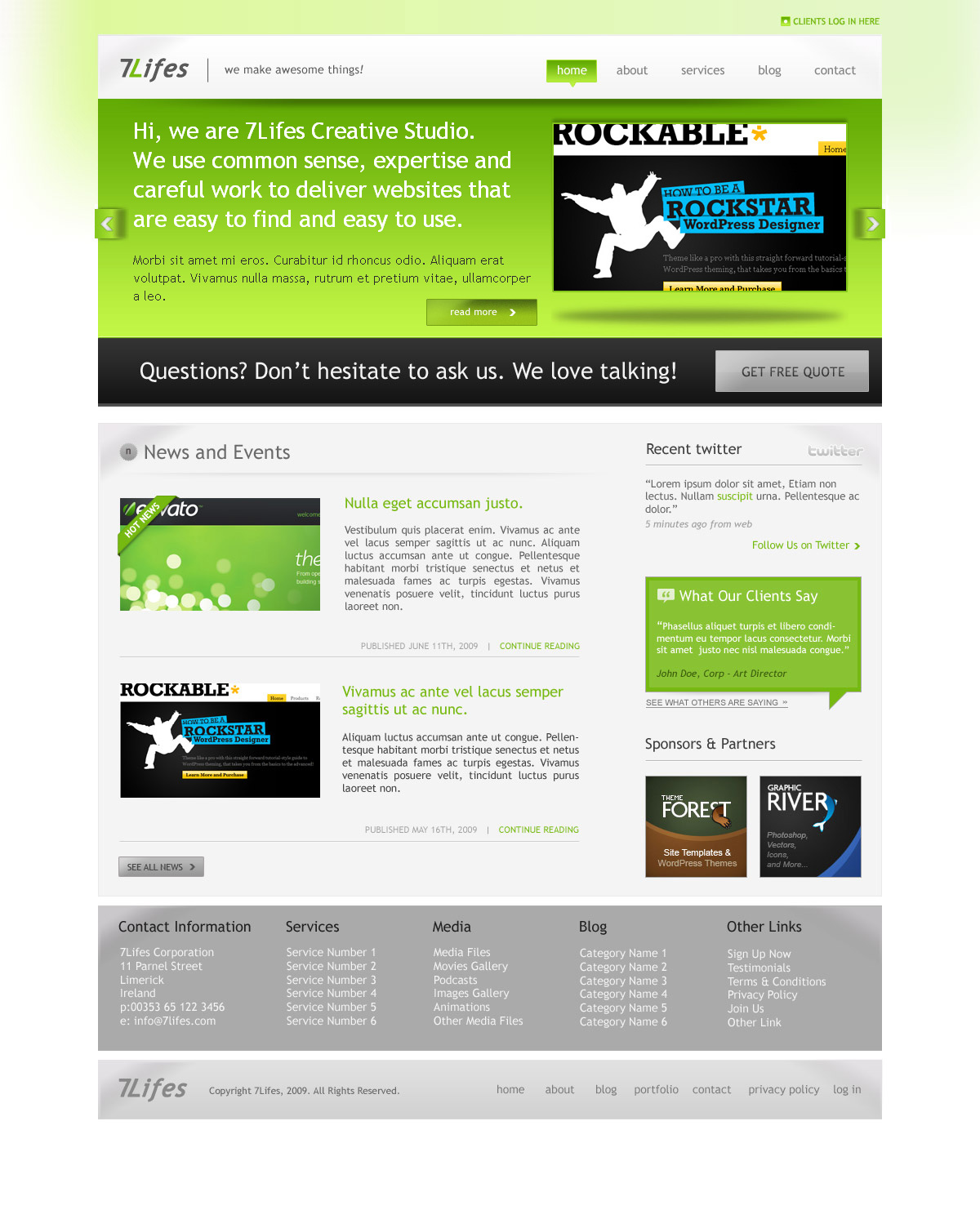7Lifes - Modern and Professional HTML/CSS Template - Homepage - Color Green - Color full baner with company or product prezentation.