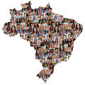 Brazil map multicultural group of young people integration diversity