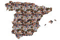 Spain map multicultural group of young people integration diversity