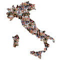Italy map multicultural group of young people integration diversity
