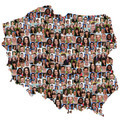 Poland map multicultural group of young people integration diversity