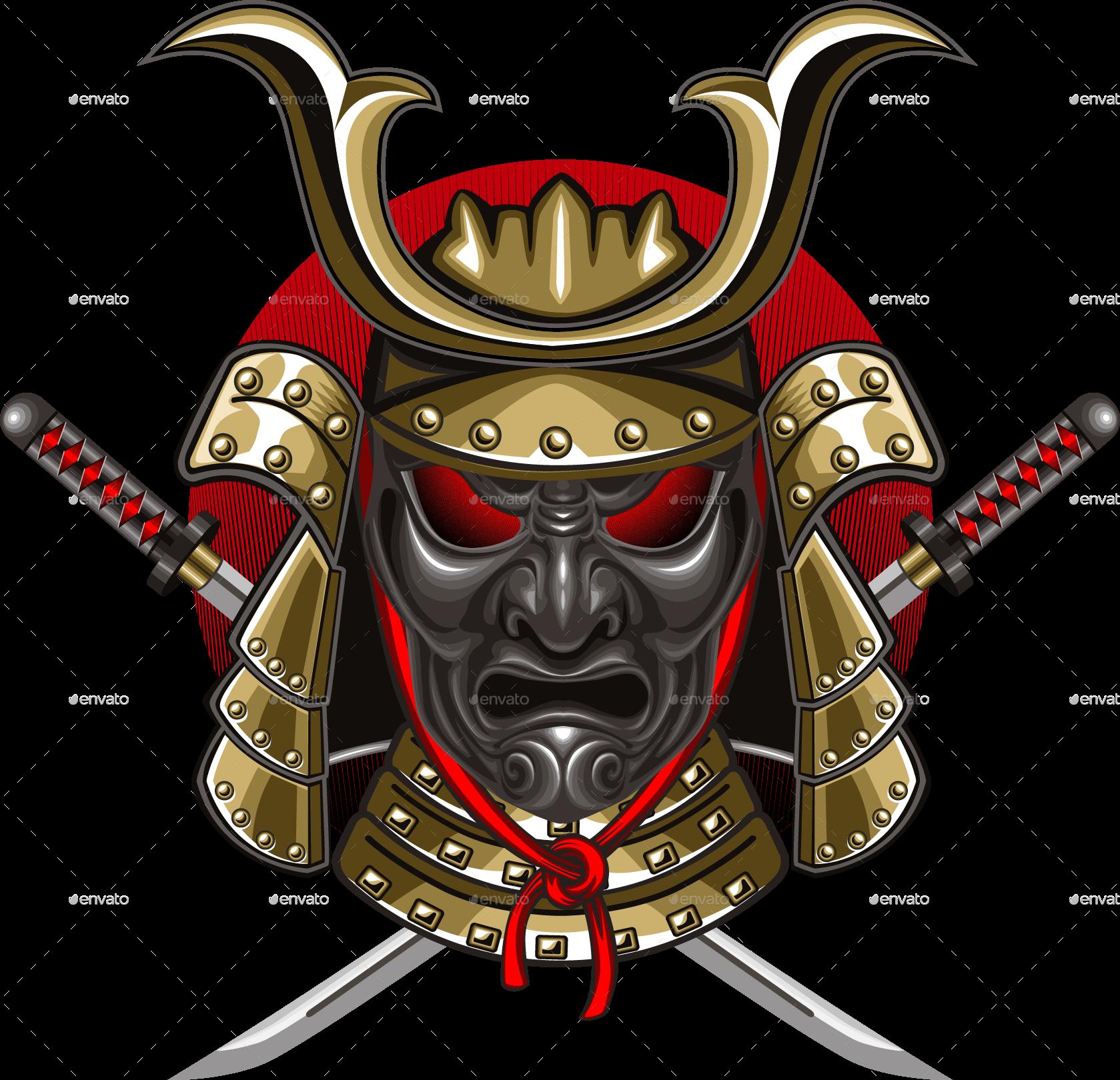 Samurai Mask with Katana by ashmarka | GraphicRiver