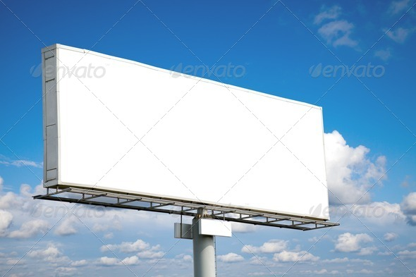 Blank billboard on blue sky - Stock Photo - Images